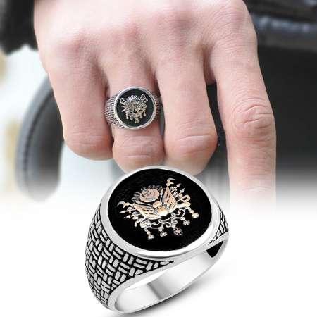 Tesbihane - Hasır İşlemeli Osmanlı Devlet Motifli 925 Ayar Gümüş Erkek Yüzük