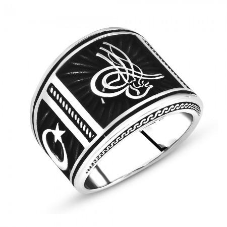Tesbihane - Ayyıldız İşlemeli Dörtgen Tuğra Motifli 925 Ayar Gümüş Erkek Yüzük