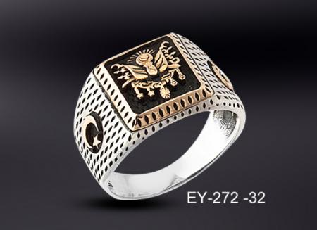 - 925 Ayar Gümüş Osmanlı Armalı Gümüş Yüzük
