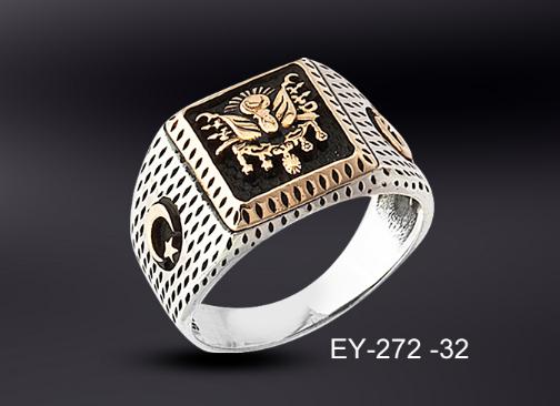 925 Ayar Gümüş Osmanlı Armalı Gümüş Yüzük