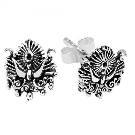 - 925 Ayar Gümüş Osmanlı Armalı Küpe