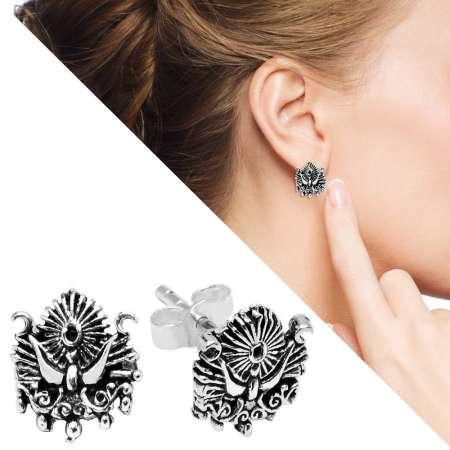 - Osmanlı Arması Tasarım 925 Ayar Gümüş Küpe