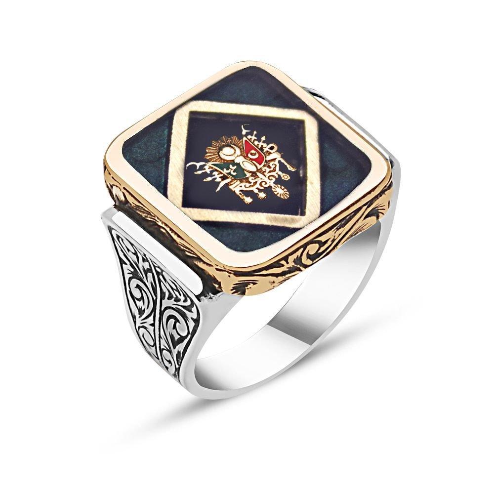 925 Ayar Gümüş Osmanlı Arması Desenli Mineli Yüzük