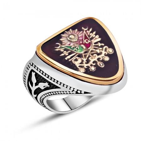 Tesbihane - 925 Ayar Gümüş Osmanlı Arması Kırmızı Mineli Zihgir Yüzüğü