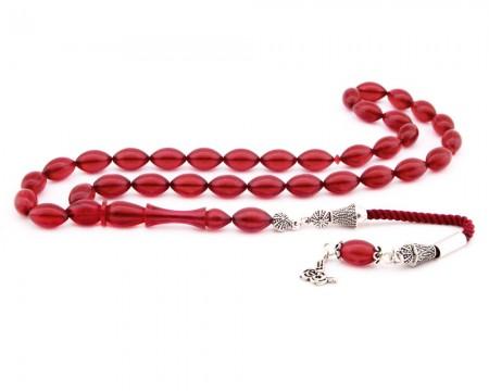Tesbihane - 925 Ayar Gümüş Tuğra Püsküllü Arpa Kesim Kırmızı Sıkma Kehribar Tesbih