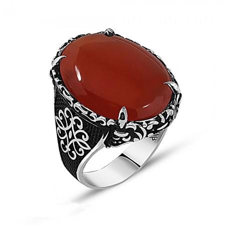 Tesbihane - Otantik İşlemeli Kırmızı Akik Taşlı 925 Ayar Gümüş Erkek Yüzük