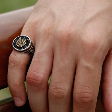 Tesbihane - 925 Ayar Gümüş Oval Armalı Vatan Millet Yüzüğü
