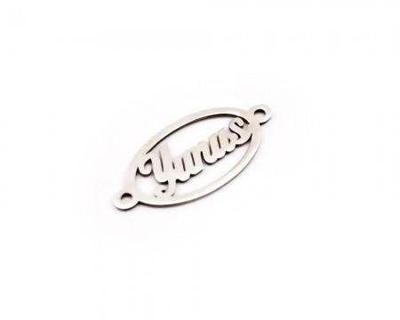 Tesbihane - Kişiye Özel İsim Yazılı 925 Ayar Gümüş Oval Püskül Ucu