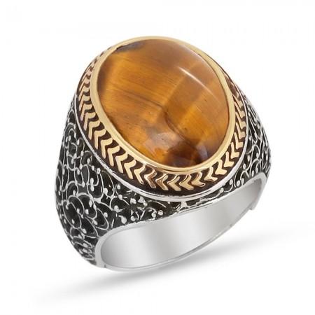- Özel Tasarım Kahverengi Kaplangözü Taşlı 925 Ayar Gümüş Erkek Yüzük