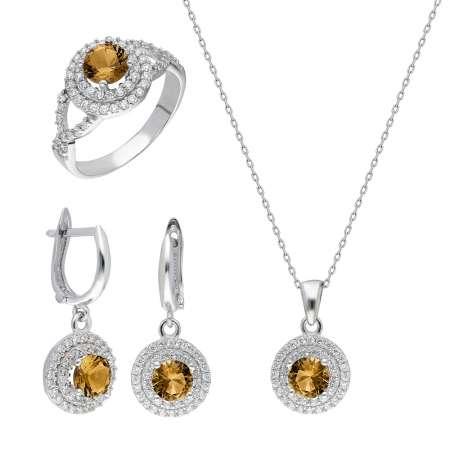 Tesbihane - Zultanit Doğaltaşlı Oval Tasarım 925 Ayar Gümüş 3'lü Takı Seti