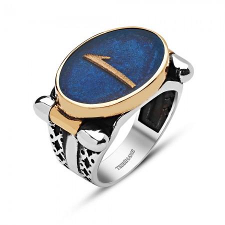 Tesbihane - 925 Ayar Gümüş Oval Mavi Mine Üzerine Elif Harfli Yüzük