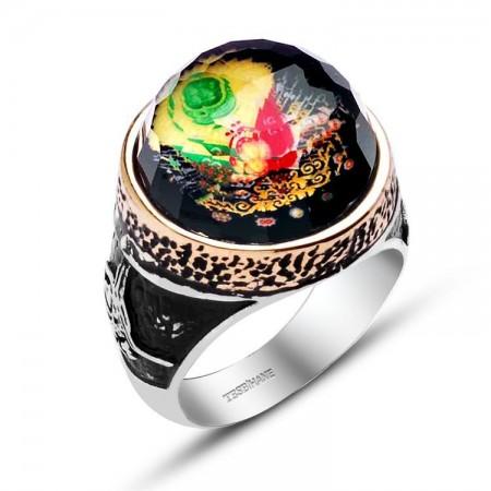 Tesbihane - 925 Ayar Gümüş Oval Model Armalı Kristalize Taş Yüzük
