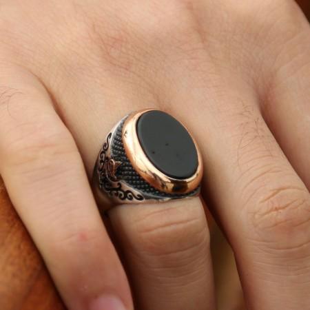 - 925 Ayar Gümüş Oval Model Oniks Taşlı Yüzük