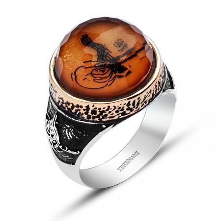 - 925 Ayar Gümüş Oval Model Tuğralı Kristalize Taş Yüzük