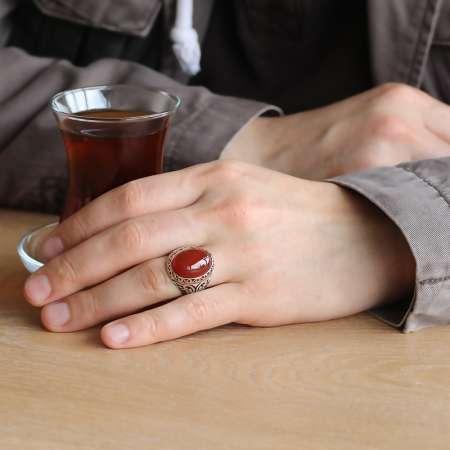 Kırmızı Akik Taşlı 925 Ayar Gümüş Erkek Yüzük - Thumbnail