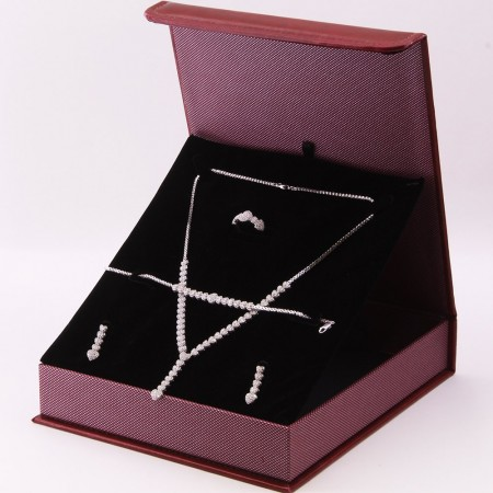Tesbihane - 925 Ayar Gümüş Özel Hediye Kutulu Zirkon Taşlı Set (Model-1)