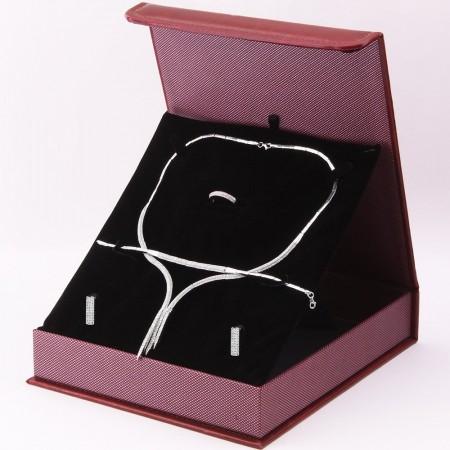 925 Ayar Gümüş Özel Hediye Kutulu Zirkon Taşlı Set (Model-4) - Thumbnail