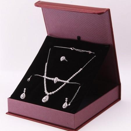 Tesbihane - 925 Ayar Gümüş Özel Hediye Kutulu Zirkon Taşlı Set (Model-5)