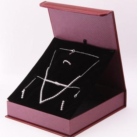 Tesbihane - 925 Ayar Gümüş Özel Hediye Kutulu Zirkon Taşlı Set (Model-6)