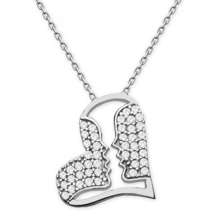 Tesbihane - 925 Ayar Gümüş Özel Tasarı Kalp Kolye