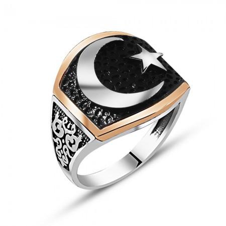 Tesbihane - 925 Ayar Gümüş Özel Tasarım Ay Yıldız Yüzük