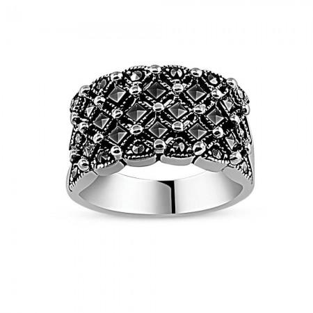 Tesbihane - 925 Ayar Gümüş Özel Tasarım Bayan Yüzük