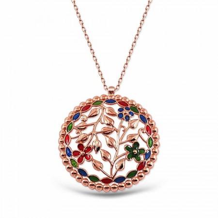 Tesbihane - 925 Ayar Gümüş Özel Tasarım Çiçekli Kolye
