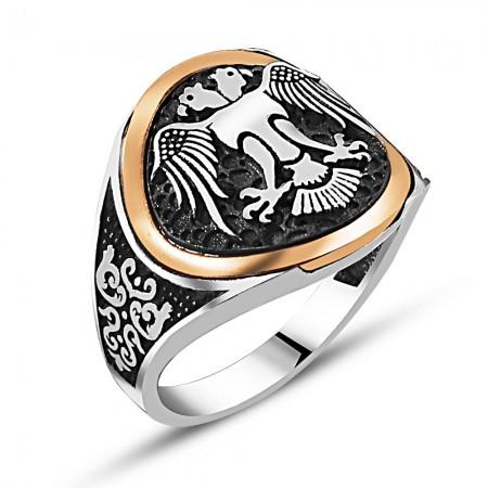 Tesbihane - 925 Ayar Gümüş Özel Tasarım Çift Başlı Kartal Yüzük (Selçuk Kartal)