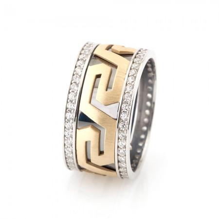- Labirent Tasarım Zirkon Taşlı 925 Ayar Gümüş Bayan Alyans