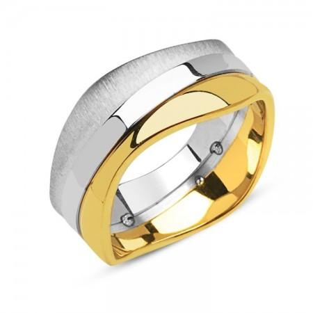 Tesbihane - 925 Ayar Gümüş Özel Tasarım Erkek Alyans