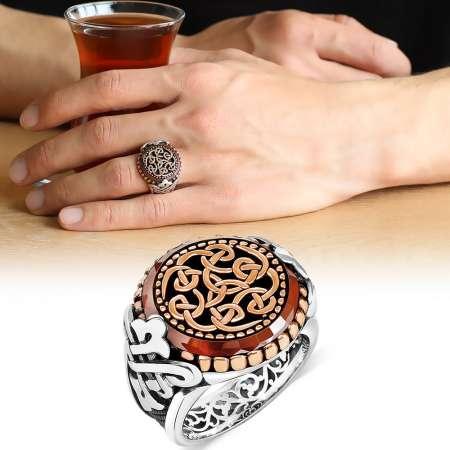 Tesbihane - Özel Tasarım Oval Kırmızı Akik Taşlı 925 Ayar Gümüş Erkek Yüzük