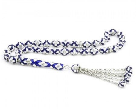 - 925 Ayar Gümüş Özel Tasarım Mavi Beyaz Mineli Gümüş Tesbih