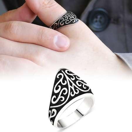 Tesbihane - Özel Tasarım 925 Ayar Gümüş Okçu (Zihgir) Yüzüğü