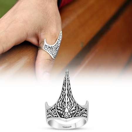 Tesbihane - 925 Ayar Gümüş Özel Tasarım Okçu (Zihgir) Yüzüğü