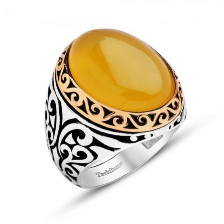 Tesbihane - Sarı Akik Taşlı 925 Ayar Gümüş Erkek Yüzük
