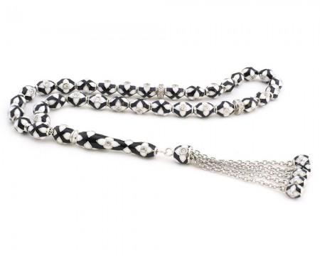 - 925 Ayar Gümüş Özel Tasarım Siyah Beyaz Mineli Gümüş Tesbih