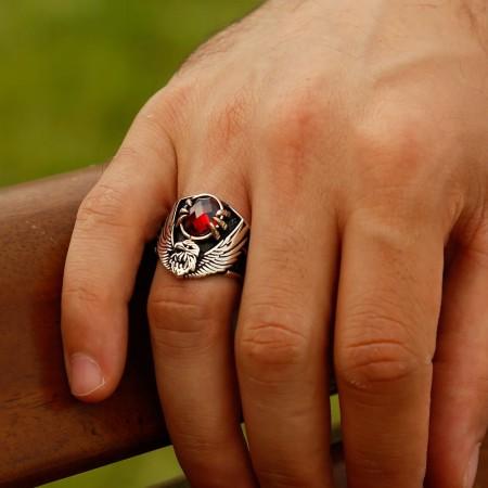 Tesbihane - 925 Ayar Gümüş Özel Tasarım Son İmparator Yüzüğü (kırmızı Taşlı)