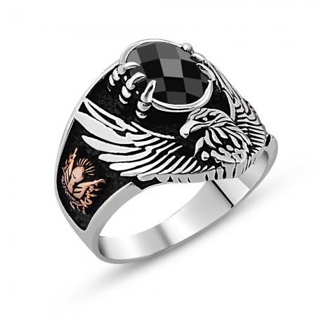 - Arma İşlemeli Kartal Tasarım Siyah Zirkon Taşlı 925 Ayar Gümüş Yüzük