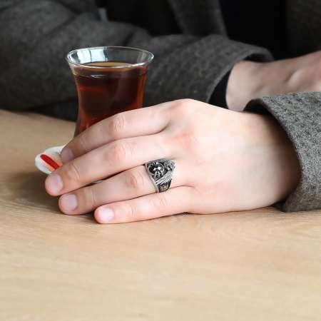 Arma İşlemeli Kartal Tasarım Siyah Zirkon Taşlı 925 Ayar Gümüş Yüzük - Thumbnail