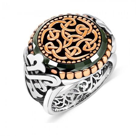 Özel Tasarım Yeşil Akik Taşlı 925 Ayar Gümüş Erkek Yüzük - Thumbnail