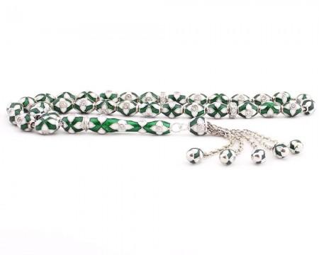Tesbihane - 925 Ayar Gümüş Özel Tasarım Yeşil Beyaz Mineli Tesbih