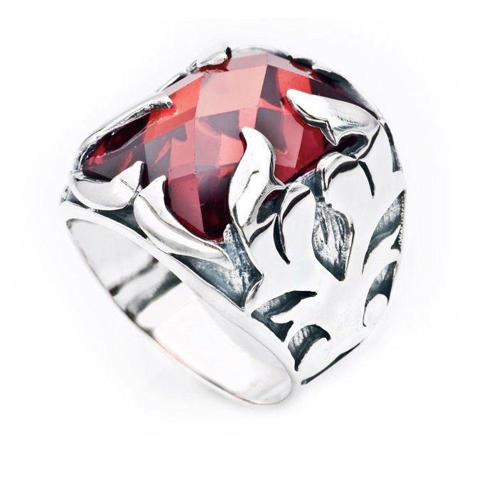 Kırmızı Zirkon Taşlı 925 Ayar Gümüş Şövalye Erkek Yüzük