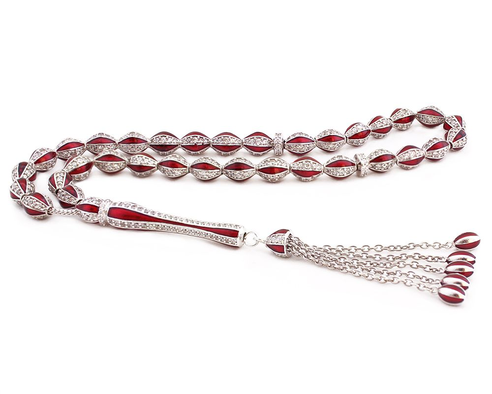 925 Ayar Gümüş Özel Tasarım Zirkon Taşlı Kırmızı Mineli Gümüş Tesbih