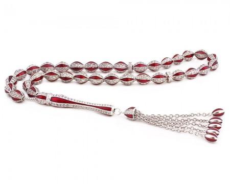 Tesbihane - 925 Ayar Gümüş Özel Tasarım Zirkon Taşlı Kırmızı Mineli Gümüş Tesbih