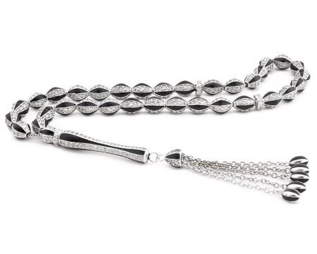 Tesbihane - 925 Ayar Gümüş Özel Tasarım Zirkon Taşlı Siyah Mineli Gümüş Tesbih