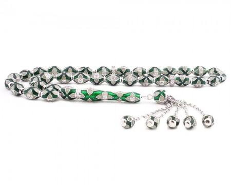 Tesbihane - 925 Ayar Gümüş Özel Tasarım Zirkon Taşlı Yeşil Beyaz Fosforlu Mineli Tesbih