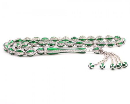 - 925 Ayar Gümüş Özel Tasarım Zirkon Taşlı Yeşil Mineli Tesbih