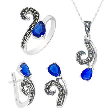 Tesbihane - Parlement Mavi Zirkon Taşlı 925 Ayar Gümüş 3'lü Takı Seti