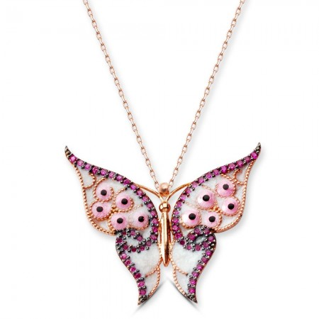 Tesbihane - 925 Ayar Gümüş Pembe Kanatlı Kelebek Kolye