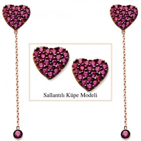 - 925 Ayar Gümüş Pembe Zirkon Taşlı Kalp Model Japon Sallantılı Küpe